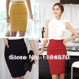 Wholesale Pencil Skirt Retro - 2014 Hot Sale!!! Women's Slim Retro Casual High Waist Bag Hip Knee Length Office Lady Pencil Skirt 4 Colors B2 13810