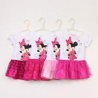 Wholesale Minnie Mouse Tutu Wholesale - In Stock Minnie Mouse Dress 2014 Baby Girls Fashion 2T-6T 100% Cotton Summer Clothing Cartoon Princess Tutu Dresses 5pcs lot