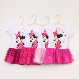 Wholesale Cartoon Lanterns - In Stock Minnie Mouse Dress 2014 Baby Girls Fashion 2T-6T 100% Cotton Summer Clothing Cartoon Princess Tutu Dresses 5pcs lot