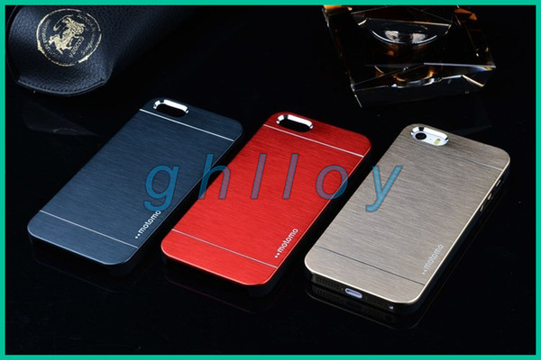 MOTOMO Hybrid Case For iphone6 /6plus iphone 4 4s 5 5s Brushed Aluminum Metal Plastic Double Layer Skin Cover Luxury