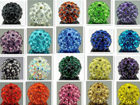 Wholesale Shamballa Wholesale Free Shipping - free shipping 10mm 150pcs lot mixed multi color Crystal Shamballa Bead Bracelet Necklace Beads.Hot spacer beads Lot!Rhinestone DIY spacer