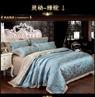 Wholesale Luxury Silk Bedspreads King Size - Luxury satin jacquard wedding bedding comforter set king queen size sheets duvet cover bedspread linen bed sheet quilt embroiders bedsheet