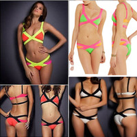 Wholesale Shoulder Strap Bikini - Newest Women's Bandage Bikini With Shoulder Straps Push-up Padded Cup Swimsuit Elastic Straps Bathing Suit Swimwear XS S M L XL B021