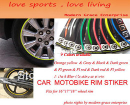 """Wholesale Sticker Stripe - 16+2 STRIPES 16""""17""""18"""" Wheel Car Rim Sticker, Big motorcycle,Wheel Decal Tape Stickers,9 Colors available free shipping"""