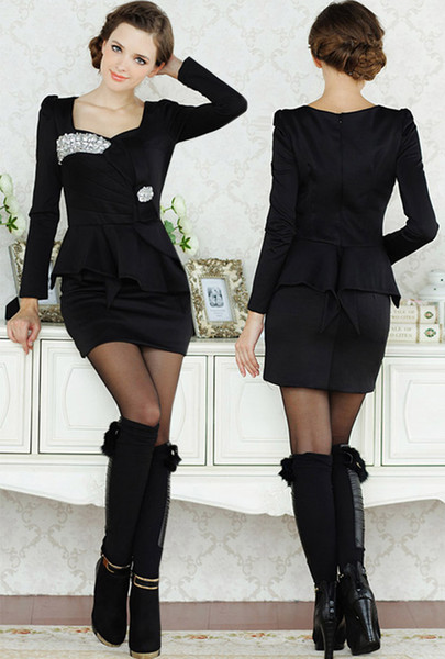 Cheap Elegant 2015 Dress Women Ladies Bling Long Sleeve Formal ...
