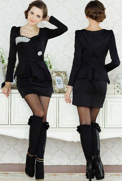 Cheap Elegant 2015 Dress Women Ladies Bling Long Sleeve Formal ...
