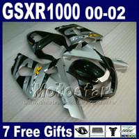 motocicletas gsxr plásticos venda por atacado-Carroçaria da motocicleta para SUZUKI GSXR 1000 K2 2000 2001 2002 kit de carenagem de plástico prata preto GSXR1000 00 - 02 GSX-R1000 com 7 presentes DS5