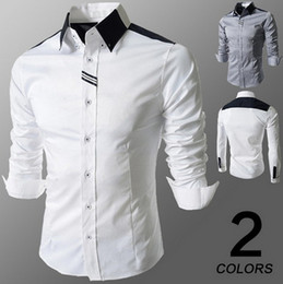 Wholesale Slim White Business Shirt - Spring new men's shirts lapel business shirts slim fit fashion men's long sleeve shirts apparel dress shirt Free shipping