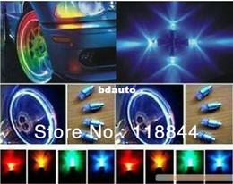 Wholesale Vinyl Flashing - 4 pcs lot Car Decoration Drl Daytime Running Light Wheel light tire valve tap lamp flashing Multi Color LED Car Light