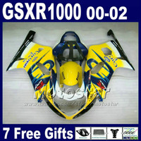 Wholesale Corona Motorcycles Gsxr - Motorcycle bodywork for SUZUKI GSXR 1000 K2 2000 2001 2002 yellow blue Corona fairing kit GSXR1000 00 - 02 GSX-R1000 with 7 gifts DS8