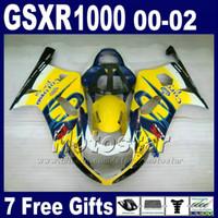 motosiklet korona kiti toptan satış-SUZUKI GSXR 1000 K2 için motosiklet kaporta 2000 2001 2002 sarı mavi Corona kaporta kiti GSXR1000 00-22 GSX-R1000 7 hediyeler ile DS8