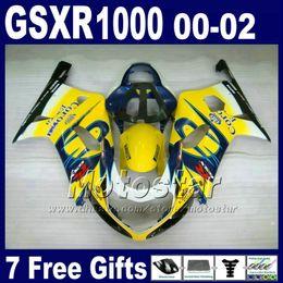 Motos corona gsxr online-Motorcycle bodywork for SUZUKI GSXR 1000 K2 2000 2001 2002 yellow blue Corona fairing kit GSXR1000 00 - 02 GSX-R1000 with 7 gifts DS8