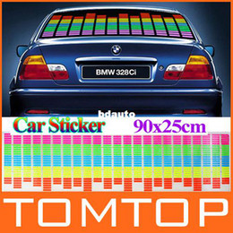 Wholesale El Car Flashing Sticker - 90cm x 25cm Sound Music Activated EL Sheet Car Sticker Equalizer Glow Flash Panel led Multi Color Decorative Light Accessories