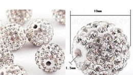 Wholesale Spikes Lowers Wholesale - lowest price 10mm 150pcs lot white clear Crystal Shamballa Bead Bracelet Necklace Beads jewelry making.Hot spacer beads Lot!Rhinestone DIY