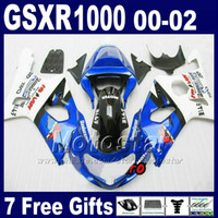 Wholesale Moto Fairings - Moto body kits for 2000 - 2002 SUZUKI GSX-R1000 K2 white blue fairing kit GSXR1000 00 01 02 GSXR 1000 fairings bodywork +7 gifts DS64