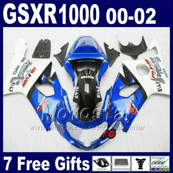 Moto body kits for 2000 - 2002 SUZUKI GSX-R1000 K2 white blue fairing kit GSXR1000 00 01 02 GSXR 1000 fairings bodywork DS64