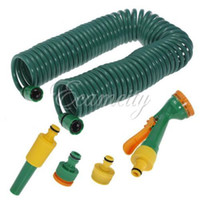 Wholesale Expandable Tube - Free Shipping 50FT 15M Coil Retractable Expandable Garden Water Wash Hose Pipe + Spray Hose + Connectors Car Bike Clean Tube set