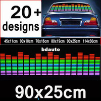 Wholesale El Car Flashing Sticker - 90 cm * 25 cm Colourful Flash Car Sticker Music Rhythm LED EL Sheet Light Lamp Sound Music Activated Equalizer #fjek #fhei #l