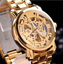 ed11ea58ae9c El oro de los hombres de la alta calidad ahueca hacia fuera el reloj  mecánico automático