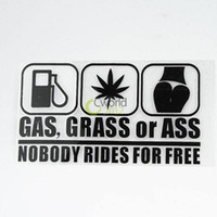 Wholesale Grass Film - 5x Funny Car Vinyl Decal Sticker Wall Decor Removable Laptop Auto Window Funny Die Cut GAS GRASS or ASS