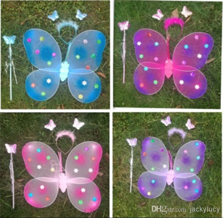 Cheapest Children Performances Accessories Flash Butterfly Wings For Party Christmas Decoration Fairy Wings +Magic Wand +Head Hoop(set of 3)