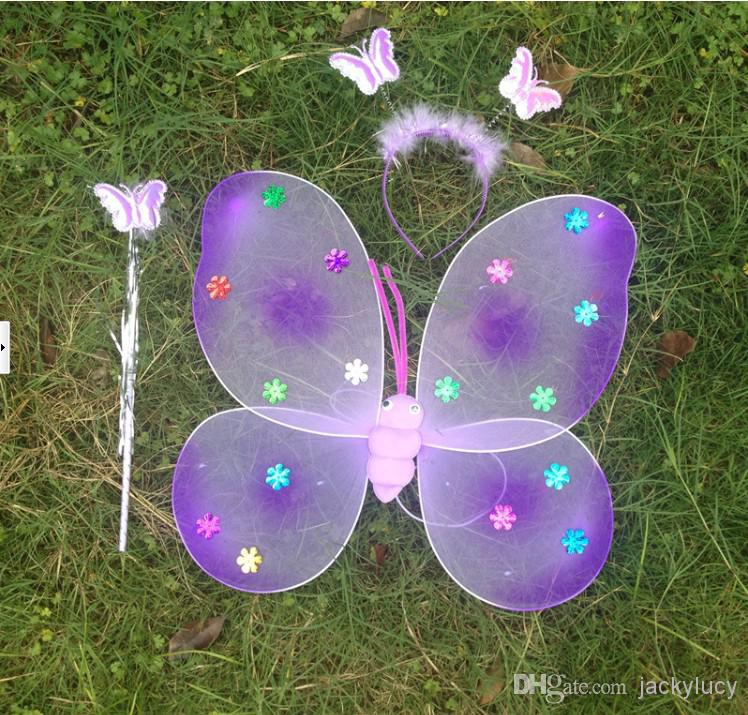 Cheapest Children Performances Accessories Flash Butterfly Wings For Party Christmas Decoration Fairy Wings +Magic Wand +Head Hoopset of 3