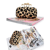 Wholesale Leopard Knuckle Ring - Fashion Punk Skull Ring Small Sexy Leopard Print knuckle Shoulder Clutch Evening Bag Women's Handbag with Sequin Metal Chain Bag