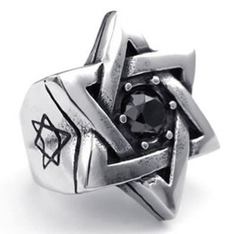 Wholesale Ring David - Whitney_houston Jewelry Mens Cubic Zirconia Stainless Steel Ring, Vintage Star of David, Black Silver US size 8 to 14 Drop Free Shipping
