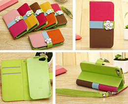Wholesale Iphone4 Flower Cases - Hybrid Contrast Color Camellia Flower Flip Wallet Case Cover With Card Slots Stand Holder For iPhone 4 4S 5 5S 5C iPhone4 iPhone5 Mix
