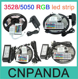 Wholesale Pc Remote Power - Waterproof 300Led SMD 3528 5050 RGB Flexible Led Strip Lights 120degrees + 24key 44key IR Remote +12V 2A 5A 6A Power Supply
