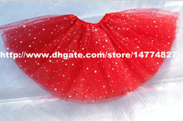 Wholesale Knee Length Girls White Pettiskirt - red baby girls sparkly star tutu skirt glitter skirts chilldren dance party pettiskirt tutus cheap tutus
