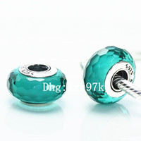 Wholesale Teal European Bead - 5pcs 925 Sterling Silver Fascinating Teal Murano Glass Beads Fit For Pandora European Charm Braceletse & Necklaces QU005