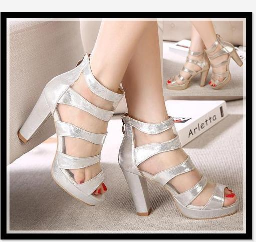 2014 Gold Silver Fashion Chunky Heel Sandals With Gauze Peep Toe ...