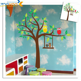 Wholesale Owl Scroll Decal - Free Shipping ZooYoo XL Size Owl Scroll Tree Removable Wall sticker Home Decor Kids Nursery Cartoon Mural Sticker Wall Decal