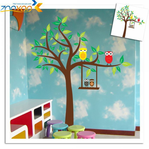 Free Shipping ZooYoo XL Size Owl Scroll Tree Removable Wall sticker Home Decor/Kids Nursery Cartoon Mural Sticker Wall Decal