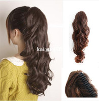 Wholesale Hair Curly Pony Tail Piece - Free Shipping Sales Promotion One Piece Hair Piece Clip Ponytails Pony Tail Clip On Hair Extension Multicolors Curly Ponytail