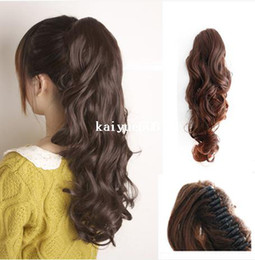 Wholesale Ombre Hair Sale - Free Shipping Sales Promotion One Piece Hair Piece Clip Ponytails Pony Tail Clip On Hair Extension Multicolors Curly Ponytail
