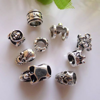 Wholesale European Mixed Tibetan Silver - 50pcs Metal Tibetan Silver Skull   Crown shape European Big Hole Beads For Charms Bracelet Chain Jewelry Findings Mixed Style