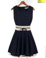 Wholesale Girls Blue Chiffon Dress - Womens Summer Cute Dress 2016 New Fashion Sleeveless Sexy Ladies Chiffon Casual Party Dresses Girl Dress Plus Size XL pink dark blue