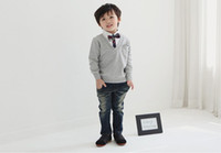 Wholesale Boys Fake 2pcs - Spring Autumn New style Handsome Boys Casual T Shirt England preppy style shirt collar fake 2pcs Children T Shirts Baby Kids Clothes TX476