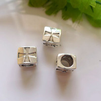 Wholesale Metal Shapes For Jewelry Making - 20pcs Antique Silver Tone Metal Rectangle shape European Big Hole Beads For Making Bracelet Chain Jewelry Findings, Hole 6mm