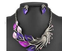 Wholesale Vintage Purple Rhinestone Earrings - New 2014 vintage peacock exaggerated Enamel Rhinestone Necklace Earrings Jewelry Set