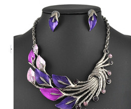 Wholesale Green Enamel Light - New 2014 vintage peacock exaggerated Enamel Rhinestone Necklace Earrings Jewelry Set