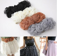 Wholesale Elastic Rose Belt - Free Shipping 5 Pieces Lot Fashion Women Ladies Double Rose Flower Buckle Waistband Elastic Waist Belt