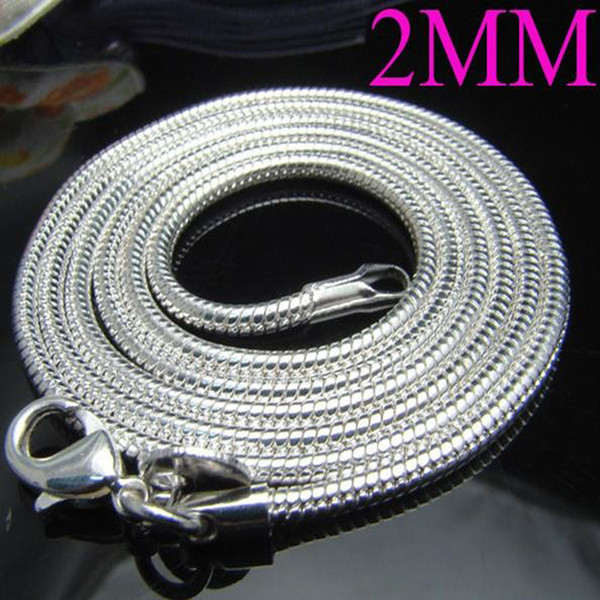 The lowest price mix Size 100pcs 2MM Fashion 925 Silver Smooth Snake Chain Necklace 16-24inch Free Shipping Hot Sale