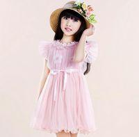 Wholesale Dream Fly - Sweet Dream Girl Gauze Summer Dresses Fly Sleeve Flower Ribbon Children Princess Dresses Good Quality Guangdong Kids Clothing GX234