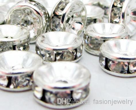 8mm 600 pz / lotto Misto oro e argento placcato bianco chiaro cristallo strass perline distanziatore, risultati dei monili Rondelle Loose Bead fit braccialetto.