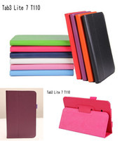 Wholesale Galaxy Tab3 Tablet - Folding Folio PU Stand Leather Case Smart Cover For Samsung GALAXY Tab 3 Tab3 Lite 7.0 T110 T111 T113 T116 Tablet PC