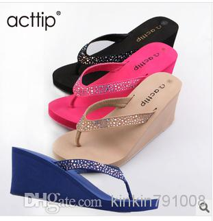 72ce2532499f Acttip Wedges Slippers Women Flip Flops Shoes Women Sandals Size35 39 Black  Apricot Blue Roseo Red Height 5cm Item576 Nude Shoes High Heel Shoes From  ...