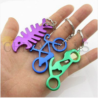 Wholesale Motorcycles Bottle Openers - hot alloy sexy girl fish bike Motorcycle bottle opener keychain car key ring key chain advertising wedding gift keychains